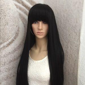 Human hair blend black wig with bangs